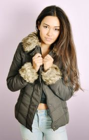 Padded Jacket with Detachable Faux Fur Trims